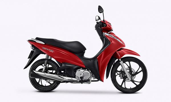 Imagem da Nova Honda Biz 2021 na cor vermelha